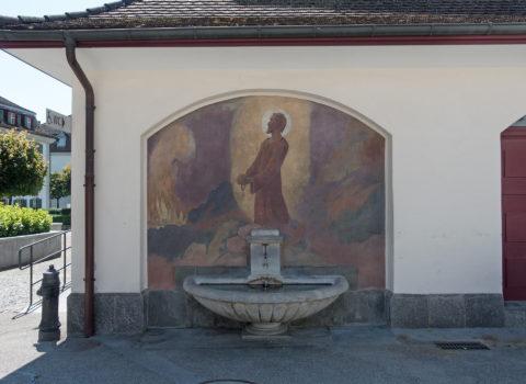 Chlausenbrunnen Pfarrhausplatz - 1947 - Eigentum der WKG